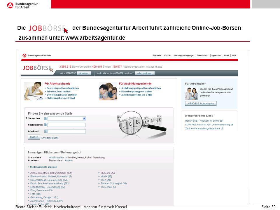 Seite 30 Konkret: Die Stellensuche Die der Bundesagentur für Arbeit führt zahlreiche Online-Job-Börsen zusammen unter: www.arbeitsagentur.de Beate Sieber-Budeck, Hochschulteaml, Agentur für Arbeit Kassel