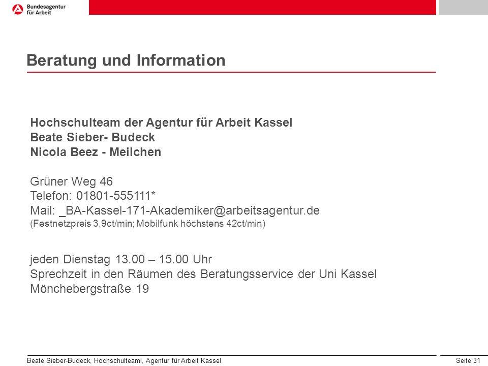 Seite 31 Beratung und Information Hochschulteam der Agentur für Arbeit Kassel Beate Sieber- Budeck Nicola Beez - Meilchen Grüner Weg 46 Telefon: 01801