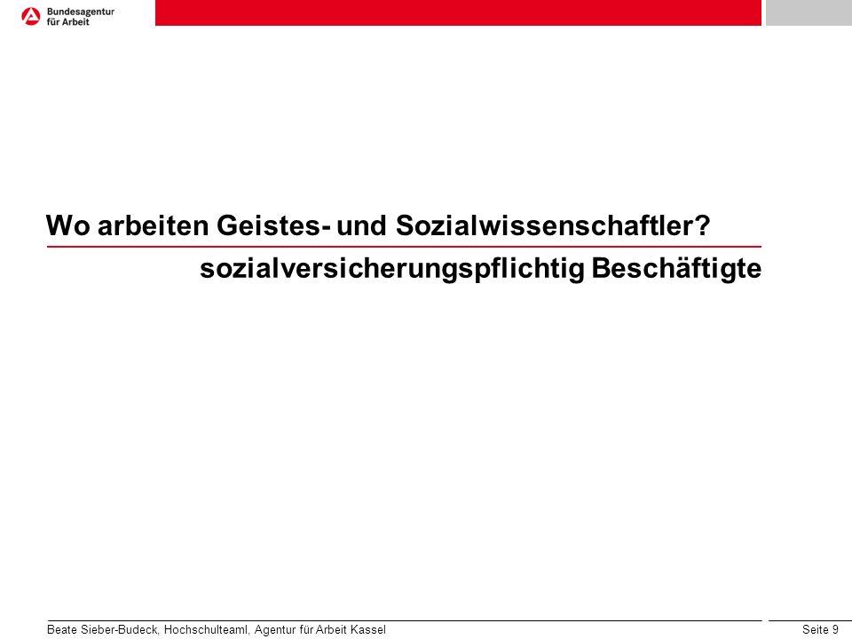 Seite 9 Wo arbeiten Geistes- und Sozialwissenschaftler? sozialversicherungspflichtig Beschäftigte Beate Sieber-Budeck, Hochschulteaml, Agentur für Arb