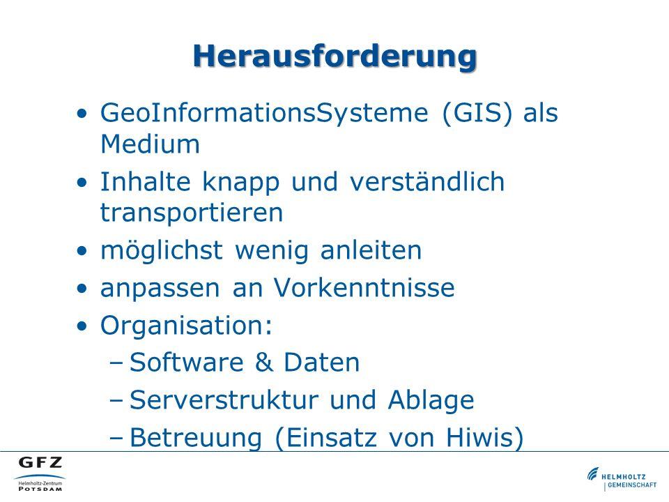 Herausforderung GeoInformationsSysteme (GIS) als Medium Inhalte knapp und verständlich transportieren möglichst wenig anleiten anpassen an Vorkenntnis