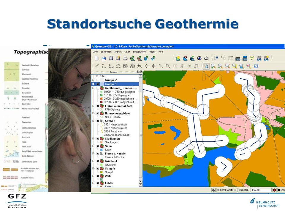 Standortsuche Geothermie Für neue Geothermiebohrung soll Standort gefunden werden Funktionalität: Buffer Zunächst analog (Zeichengerät/Folie) –Inkl. S