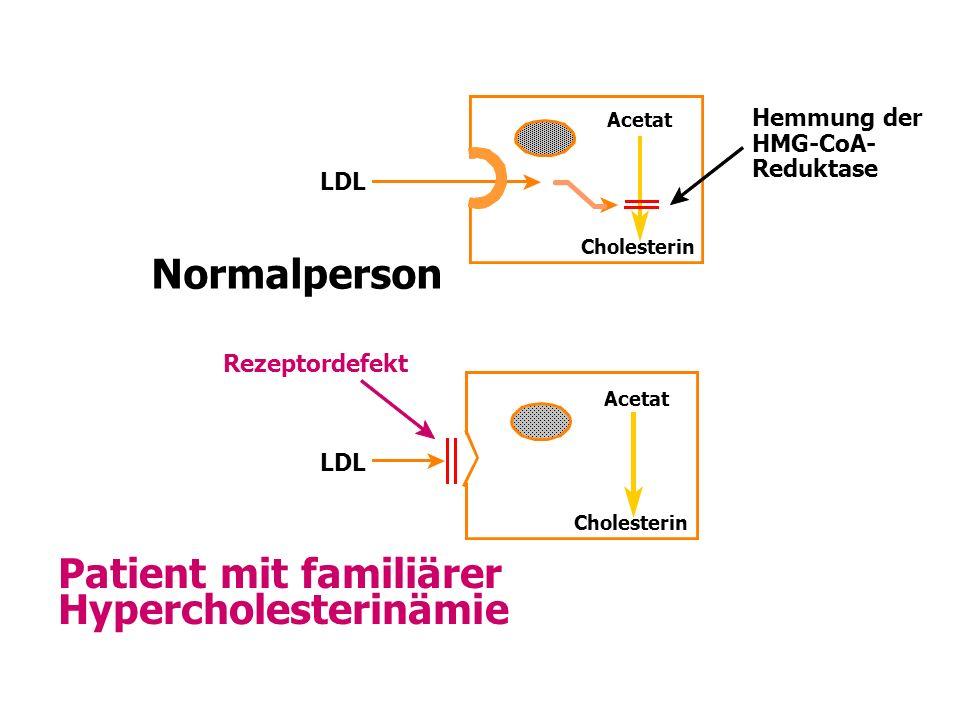 LDL Acetat Cholesterin Patient mit familiärer Hypercholesterinämie Normalperson Hemmung der HMG-CoA- Reduktase LDL Rezeptordefekt Acetat Cholesterin