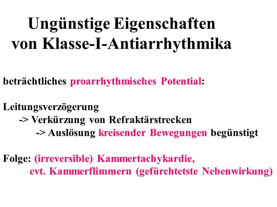 Ungünstige Eigenschaften von Klasse-I-Antiarrhythmika beträchtliches proarrhythmisches Potential: Leitungsverzögerung -> Verkürzung von Refraktärstrec