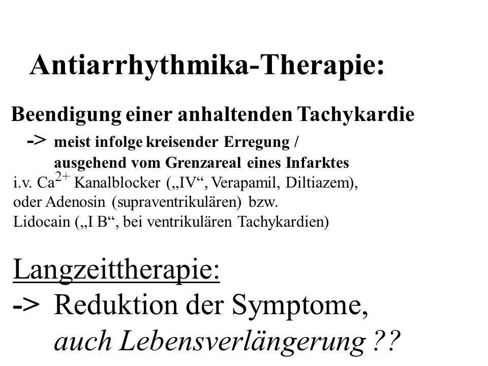 Antiarrhythmika-Therapie: Beendigung einer anhaltenden Tachykardie -> meist infolge kreisender Erregung / ausgehend vom Grenzareal eines Infarktes i.v