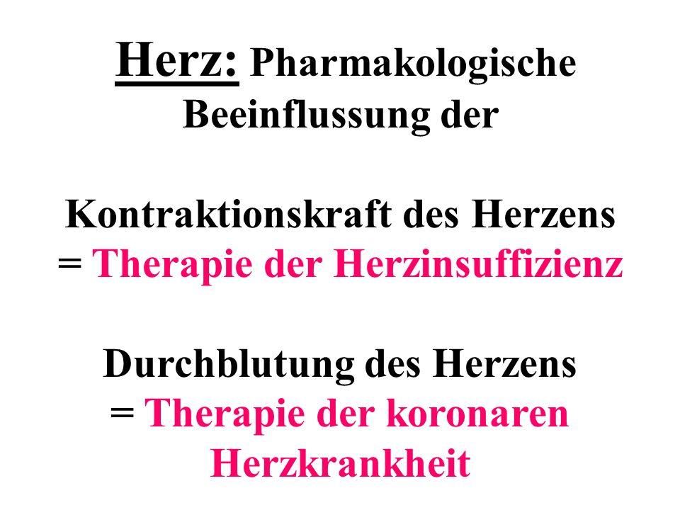 Herz: Pharmakologische Beeinflussung der Kontraktionskraft des Herzens = Therapie der Herzinsuffizienz Durchblutung des Herzens = Therapie der koronar