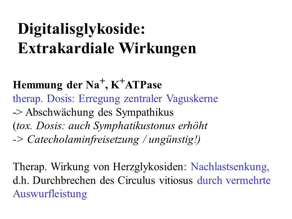 Digitalisglykoside: Extrakardiale Wirkungen Hemmung der Na +, K + ATPase therap. Dosis: Erregung zentraler Vaguskerne -> Abschwächung des Sympathikus