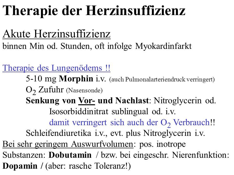 Therapie der Herzinsuffizienz Akute Herzinsuffizienz binnen Min od. Stunden, oft infolge Myokardinfarkt Therapie des Lungenödems !! 5-10 mg Morphin i.