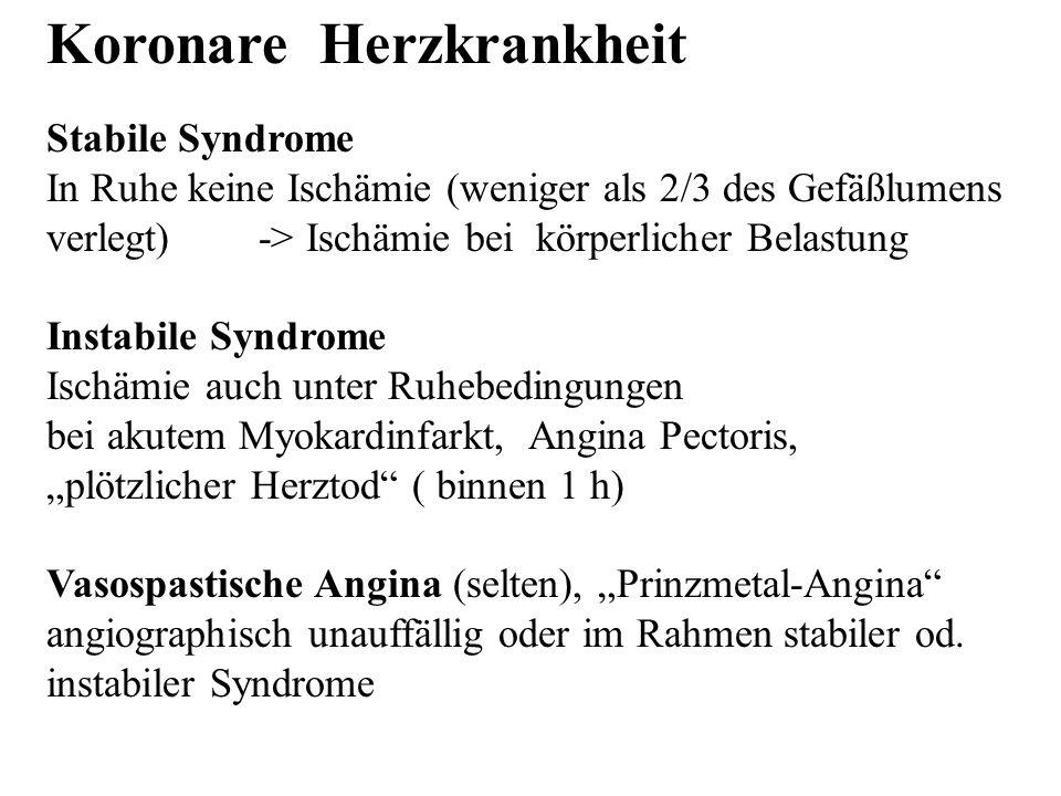 Koronare Herzkrankheit Stabile Syndrome In Ruhe keine Ischämie (weniger als 2/3 des Gefäßlumens verlegt) -> Ischämie bei körperlicher Belastung Instab