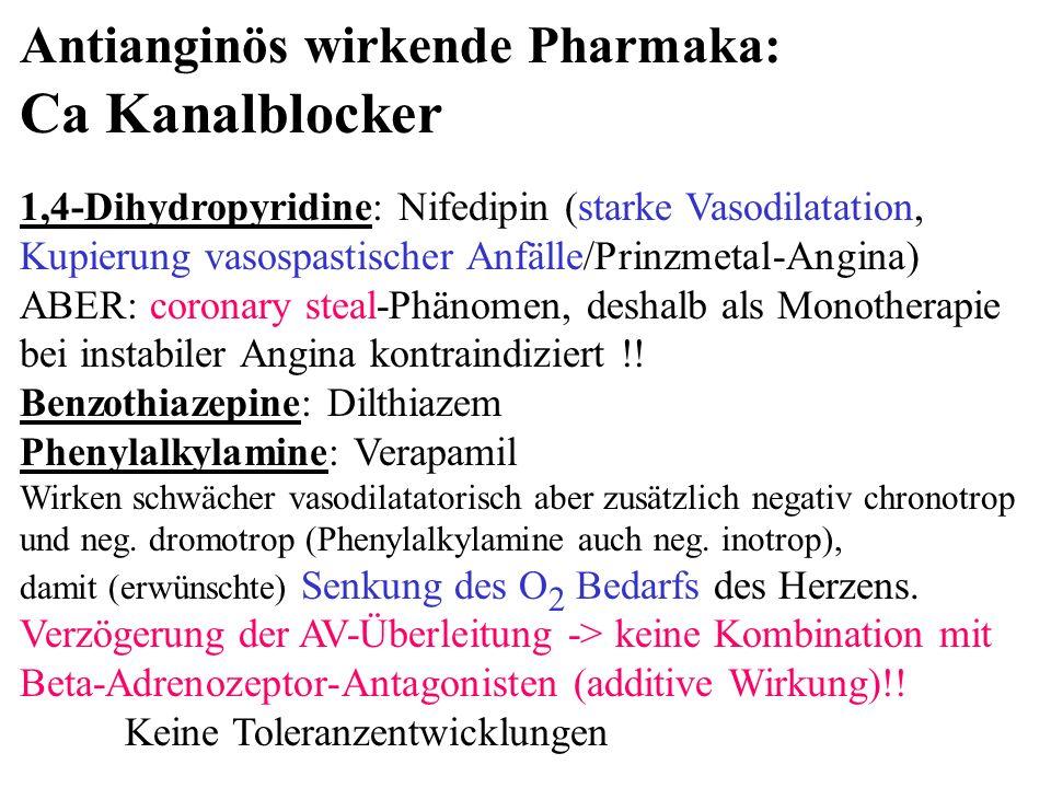 Antianginös wirkende Pharmaka: Ca Kanalblocker 1,4-Dihydropyridine: Nifedipin (starke Vasodilatation, Kupierung vasospastischer Anfälle/Prinzmetal-Ang