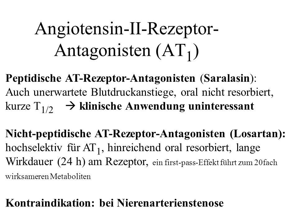 Angiotensin-II-Rezeptor- Antagonisten (AT 1 ) Peptidische AT-Rezeptor-Antagonisten (Saralasin): Auch unerwartete Blutdruckanstiege, oral nicht resorbi