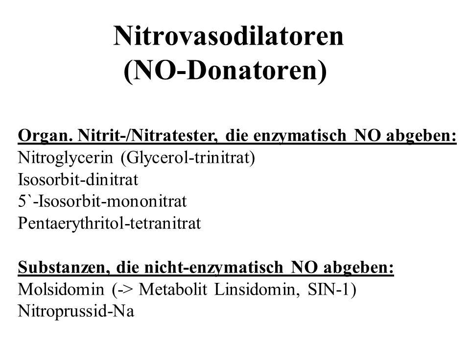 Nitrovasodilatoren (NO-Donatoren) Organ. Nitrit-/Nitratester, die enzymatisch NO abgeben: Nitroglycerin (Glycerol-trinitrat) Isosorbit-dinitrat 5`-Iso