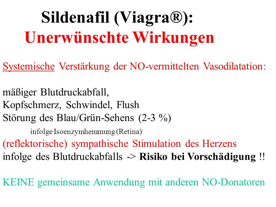 Sildenafil (Viagra®): Unerwünschte Wirkungen Systemische Verstärkung der NO-vermittelten Vasodilatation: mäßiger Blutdruckabfall, Kopfschmerz, Schwind