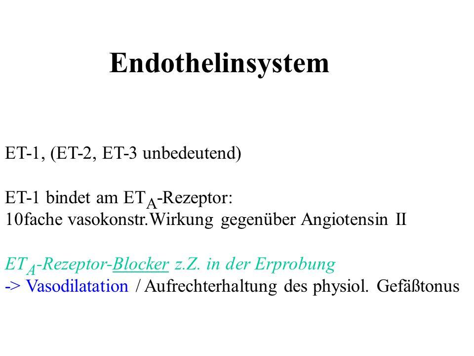Endothelinsystem ET-1, (ET-2, ET-3 unbedeutend) ET-1 bindet am ET A -Rezeptor: 10fache vasokonstr.Wirkung gegenüber Angiotensin II ET A -Rezeptor-Bloc
