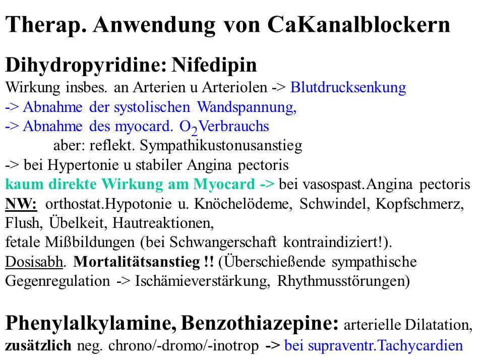 Dihydropyridine: Nifedipin Wirkung insbes. an Arterien u Arteriolen -> Blutdrucksenkung -> Abnahme der systolischen Wandspannung, -> Abnahme des myoca
