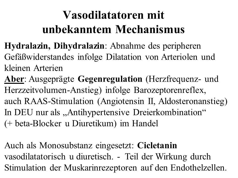 Hydralazin, Dihydralazin: Abnahme des peripheren Gefäßwiderstandes infolge Dilatation von Arteriolen und kleinen Arterien Aber: Ausgeprägte Gegenregul