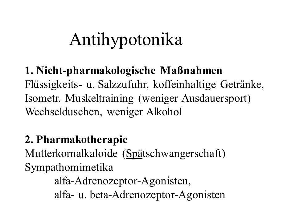 Antihypotonika 1. Nicht-pharmakologische Maßnahmen Flüssigkeits- u. Salzzufuhr, koffeinhaltige Getränke, Isometr. Muskeltraining (weniger Ausdauerspor