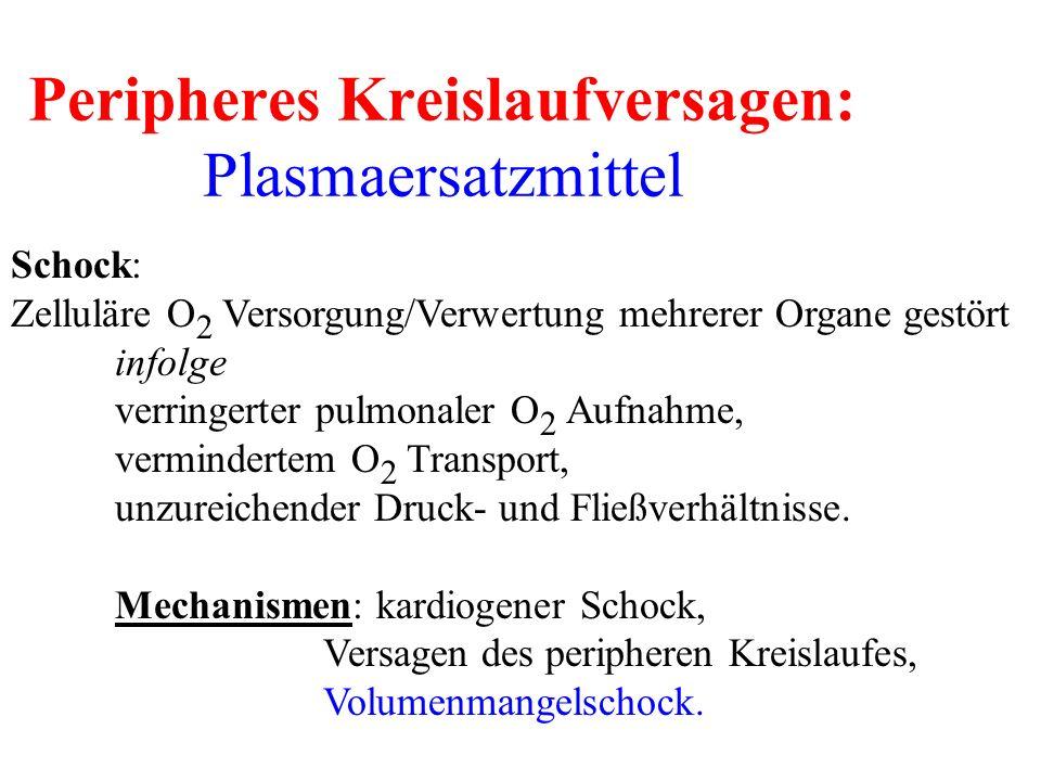 Peripheres Kreislaufversagen: Plasmaersatzmittel Schock: Zelluläre O 2 Versorgung/Verwertung mehrerer Organe gestört infolge verringerter pulmonaler O