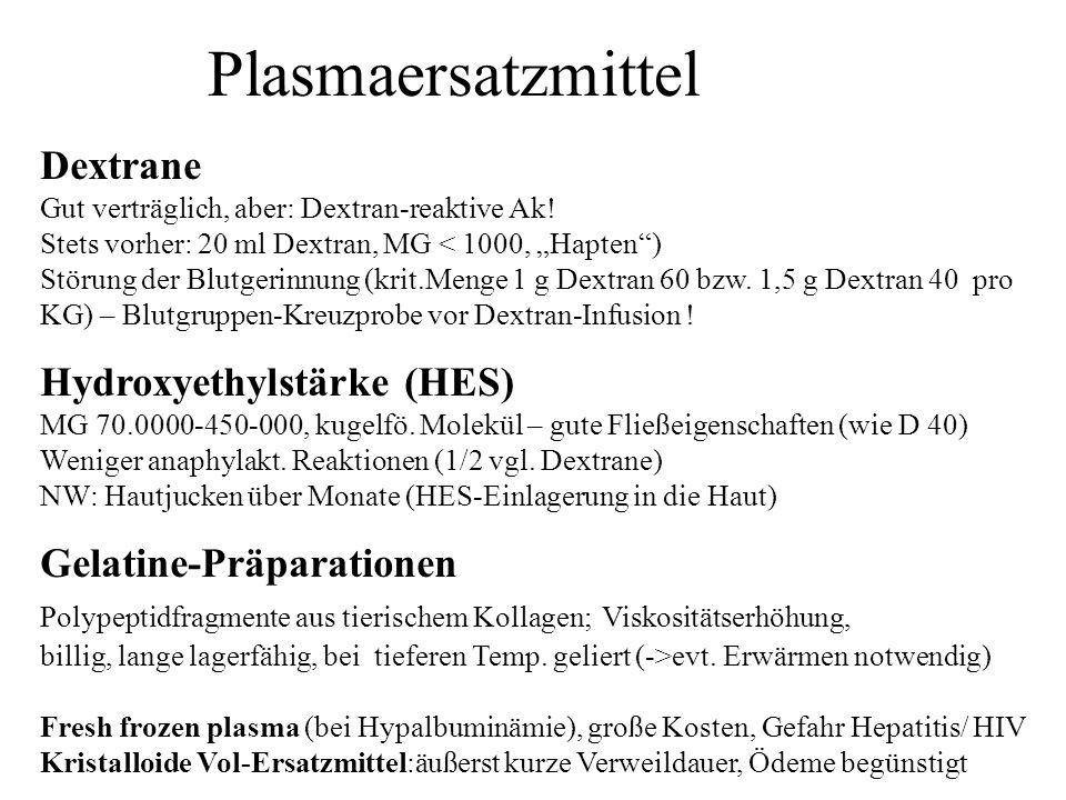 Plasmaersatzmittel Dextrane Gut verträglich, aber: Dextran-reaktive Ak! Stets vorher: 20 ml Dextran, MG < 1000, Hapten) Störung der Blutgerinnung (kri