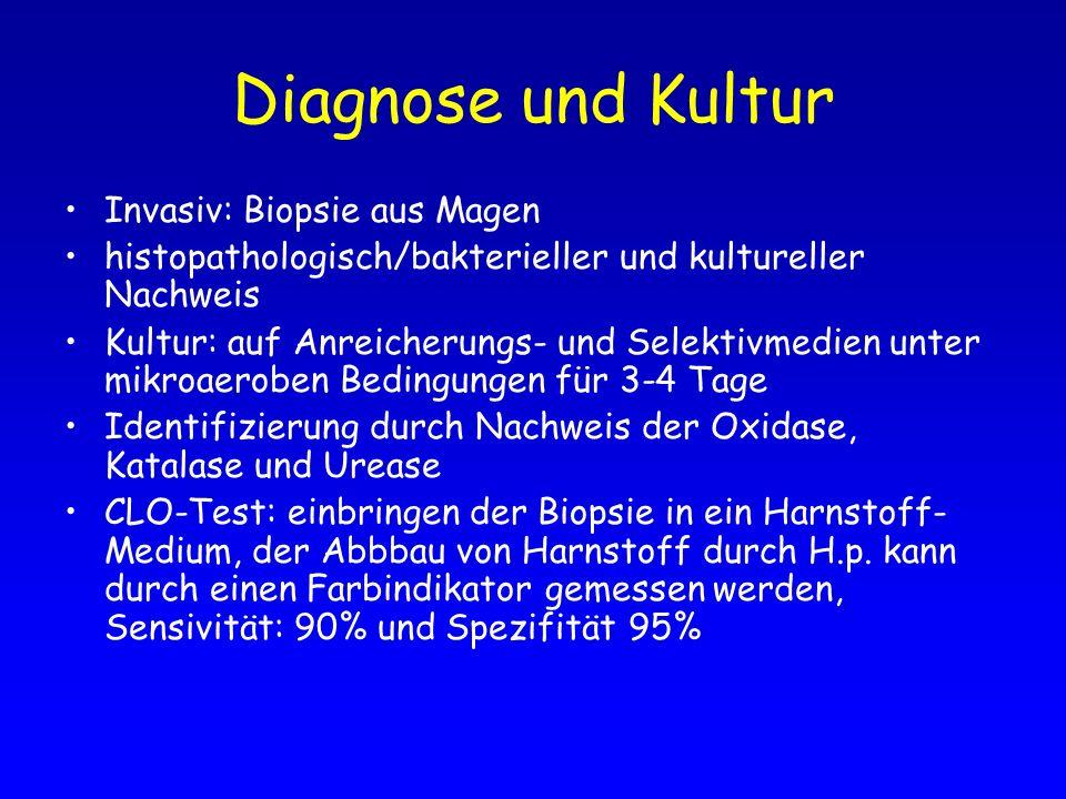 Diagnose und Kultur Invasiv: Biopsie aus Magen histopathologisch/bakterieller und kultureller Nachweis Kultur: auf Anreicherungs- und Selektivmedien u