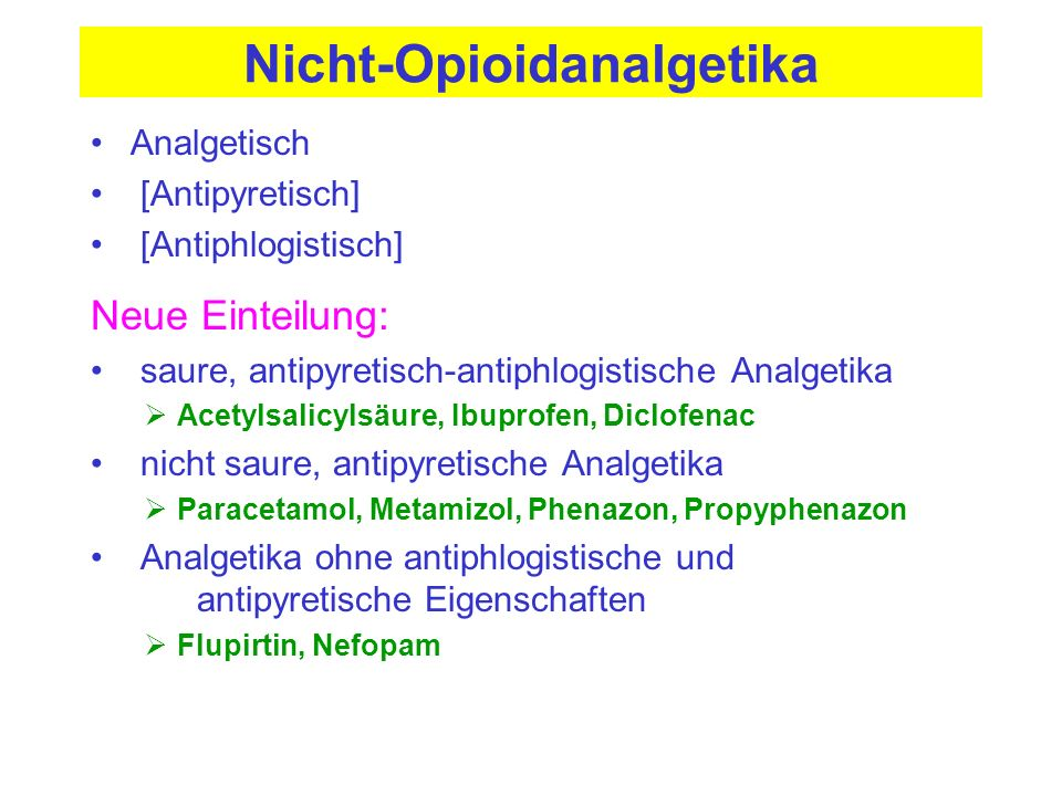Ibuprofen (Naproxen, Flurbiprofen) Antiphlogistikum mit Säurecharakter Anreicherung in entzündeten Geweben Analgetisch und antipyretisch bereits in geringer Dosierung Wirkung durch Hemmung von COX-1/2 (auch COX-3) HWZ 2 h (4 und 12-15 h) ; hohe Eiweißbindung Nebenwirkungen wie bei ASS, aber Schädigung im Magen und Gerinnungshemmung (reversibel !) geringer ausgeprägt