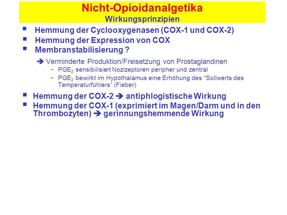 Nicht-steroidale Antiphlogistika NSA, auch NSAR [Antirheumatika], NSAID [non-steroidal antiinflammatory drug) Acetylsalicylsäure, Ibuprofen (Flurbiprofen, Naproxen) höhere Dosen als zur akuten Schmerzbekämpfung Diclofenac nicht i.v.
