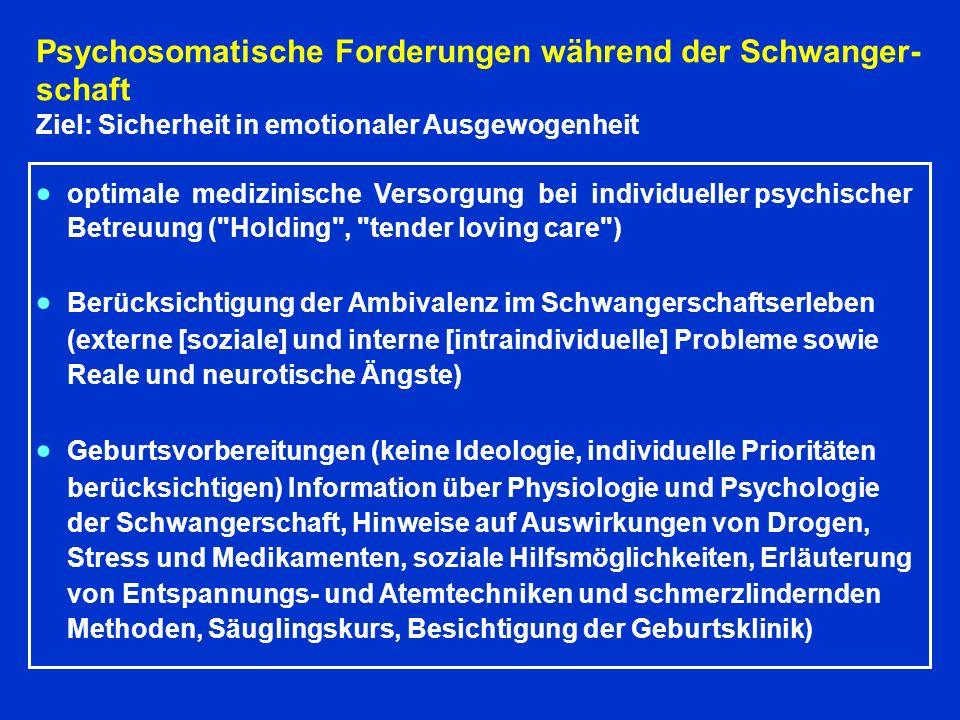 Psychosomatische Forderungen während der Schwanger- schaft Ziel: Sicherheit in emotionaler Ausgewogenheit optimale medizinische Versorgung bei individueller psychischer Betreuung ( Holding , tender loving care ) Berücksichtigung der Ambivalenz im Schwangerschaftserleben (externe [soziale] und interne [intraindividuelle] Probleme sowie Reale und neurotische Ängste) Geburtsvorbereitungen (keine Ideologie, individuelle Prioritäten berücksichtigen) Information über Physiologie und Psychologie der Schwangerschaft, Hinweise auf Auswirkungen von Drogen, Stress und Medikamenten, soziale Hilfsmöglichkeiten, Erläuterung von Entspannungs- und Atemtechniken und schmerzlindernden Methoden, Säuglingskurs, Besichtigung der Geburtsklinik)