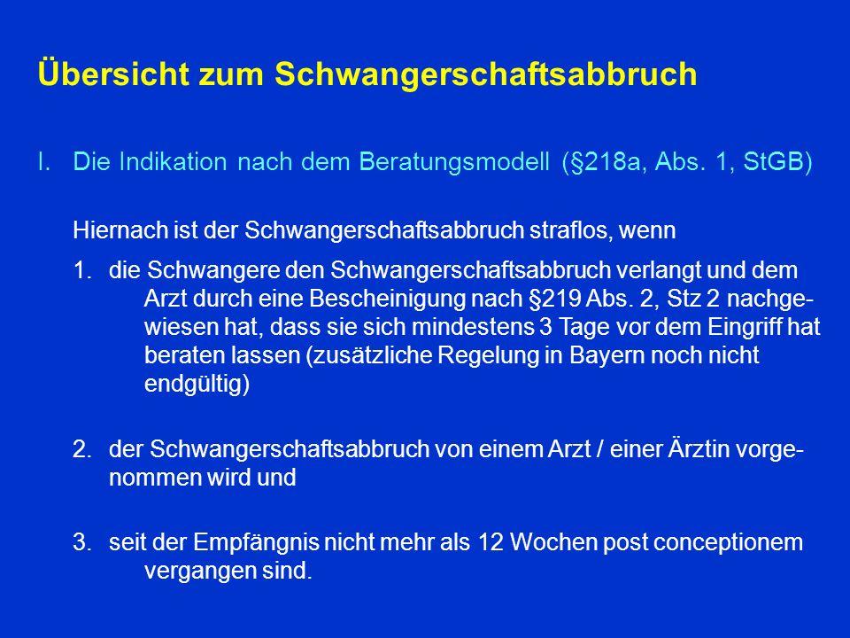 Übersicht zum Schwangerschaftsabbruch I.Die Indikation nach dem Beratungsmodell (§218a, Abs.