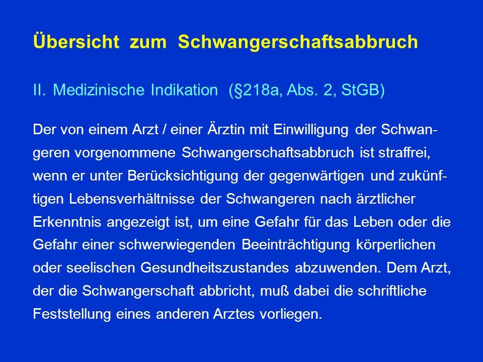Übersicht zum Schwangerschaftsabbruch II.Medizinische Indikation (§218a, Abs.