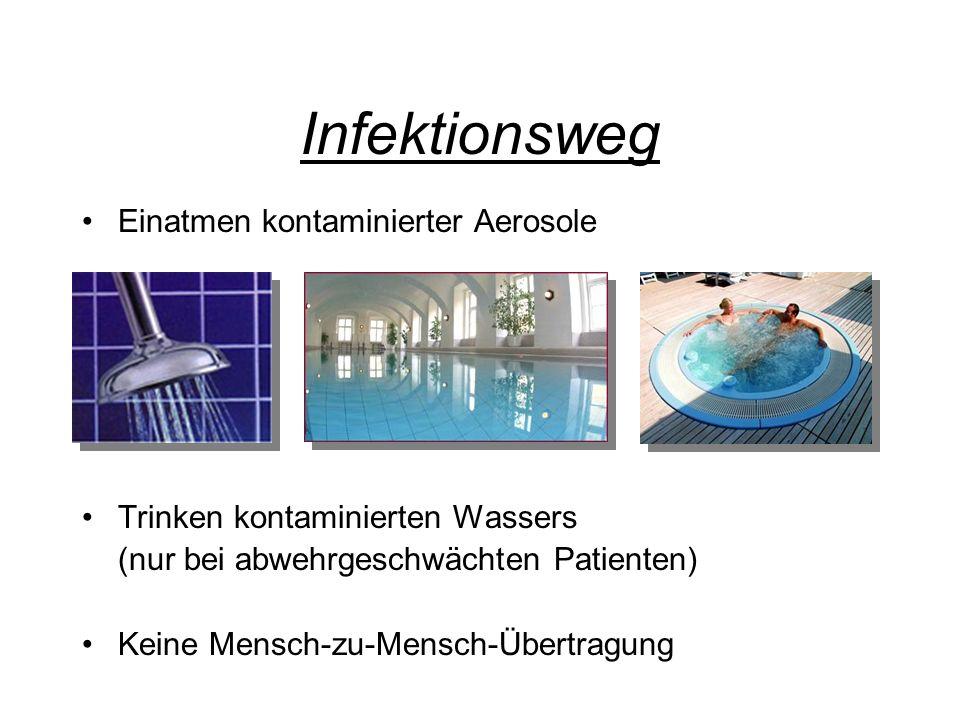 Infektionsweg Einatmen kontaminierter Aerosole Trinken kontaminierten Wassers (nur bei abwehrgeschwächten Patienten) Keine Mensch-zu-Mensch-Übertragun