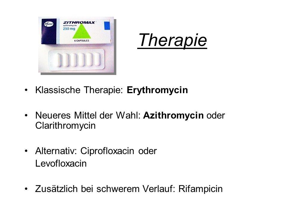 Therapie Klassische Therapie: Erythromycin Neueres Mittel der Wahl: Azithromycin oder Clarithromycin Alternativ: Ciprofloxacin oder Levofloxacin Zusät
