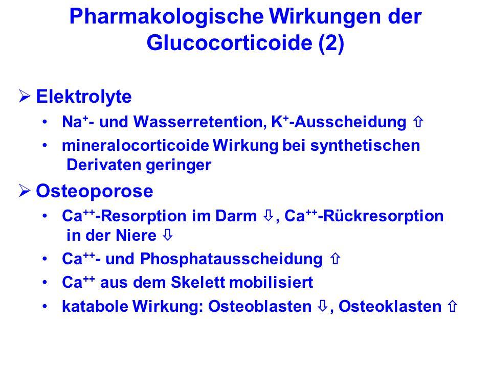 Pharmakologische Wirkungen der Glucocorticoide (2) Elektrolyte Na + - und Wasserretention, K + -Ausscheidung mineralocorticoide Wirkung bei synthetisc