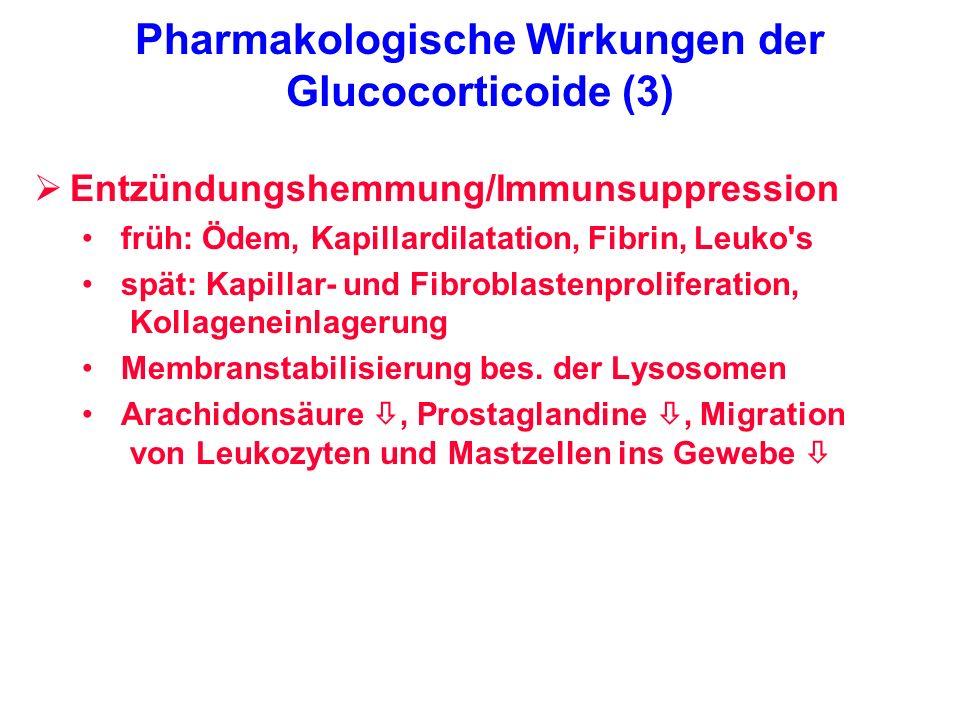 Pharmakologische Wirkungen der Glucocorticoide (3) Entzündungshemmung/Immunsuppression früh: Ödem, Kapillardilatation, Fibrin, Leuko's spät: Kapillar-