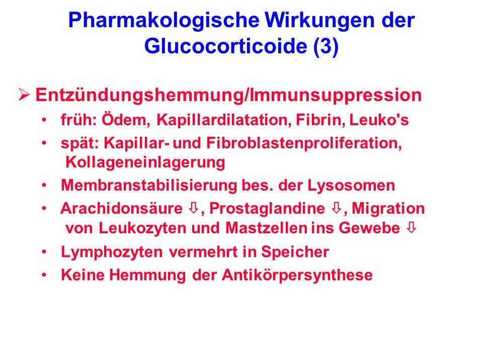Pharmakologische Wirkungen der Glucocorticoide (3) Lymphozyten vermehrt in Speicher Keine Hemmung der Antikörpersynthese Entzündungshemmung/Immunsuppr