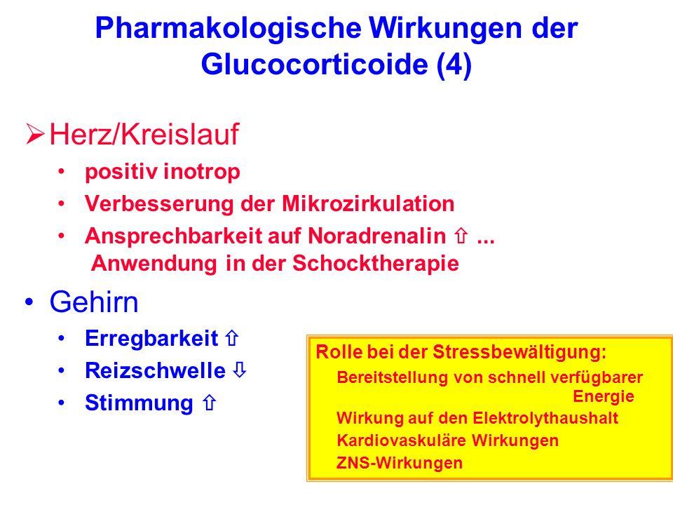Pharmakologische Wirkungen der Glucocorticoide (4) Herz/Kreislauf positiv inotrop Verbesserung der Mikrozirkulation Ansprechbarkeit auf Noradrenalin..