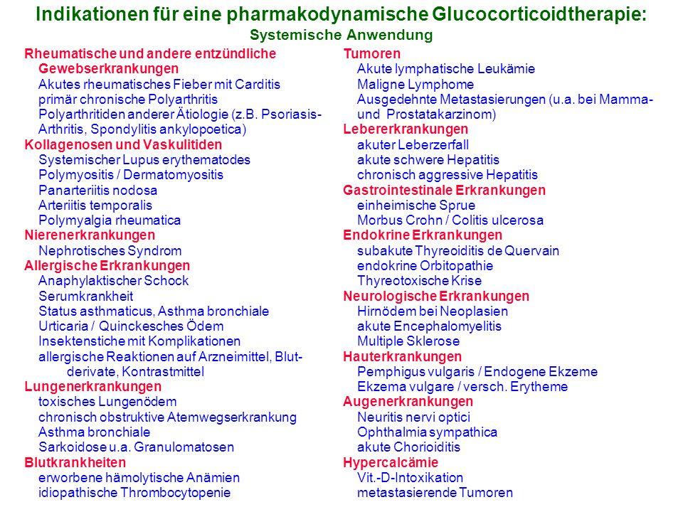 Indikationen für eine pharmakodynamische Glucocorticoidtherapie: Systemische Anwendung Rheumatische und andere entzündliche Gewebserkrankungen Akutes