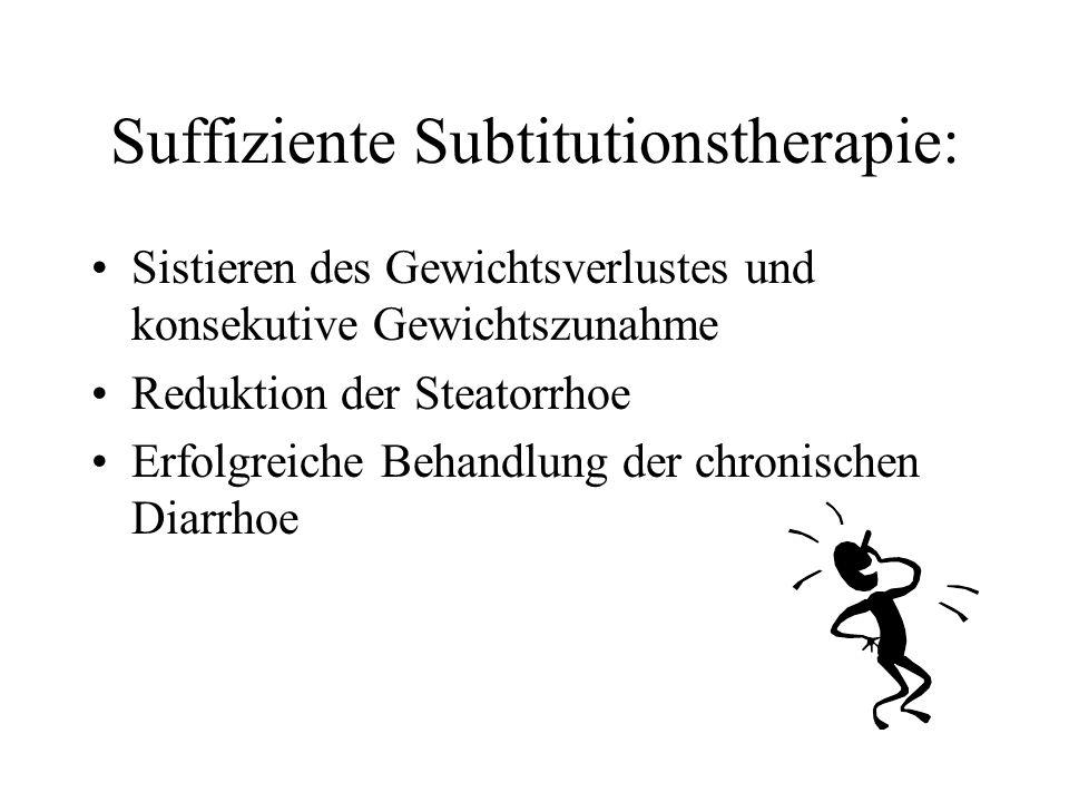 Suffiziente Subtitutionstherapie: Sistieren des Gewichtsverlustes und konsekutive Gewichtszunahme Reduktion der Steatorrhoe Erfolgreiche Behandlung de