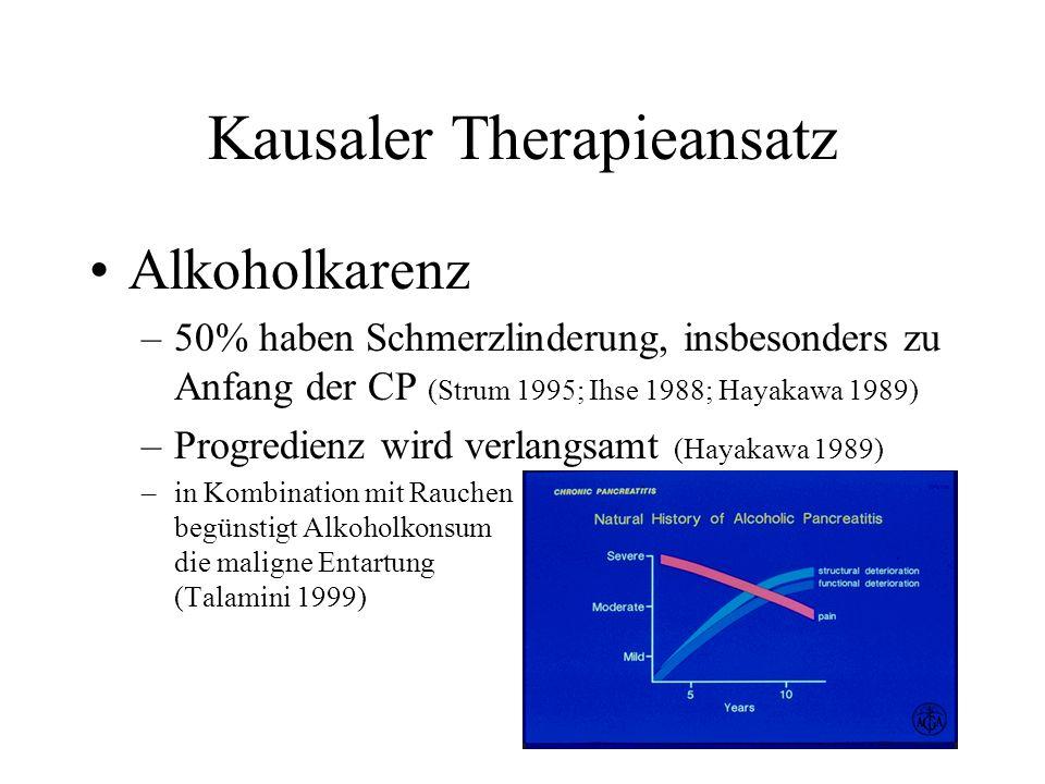 Kausaler Therapieansatz Alkoholkarenz –50% haben Schmerzlinderung, insbesonders zu Anfang der CP (Strum 1995; Ihse 1988; Hayakawa 1989) –Progredienz w