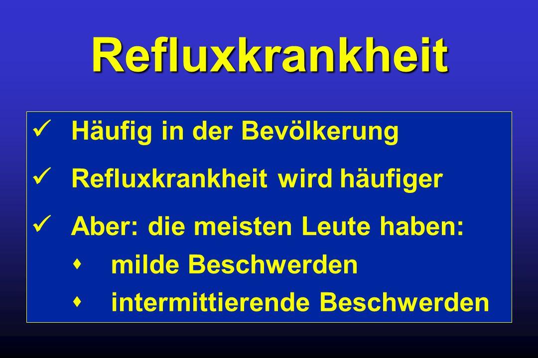 Refluxkrankheit Häufig in der Bevölkerung Refluxkrankheit wird häufiger Aber: die meisten Leute haben: milde Beschwerden intermittierende Beschwerden