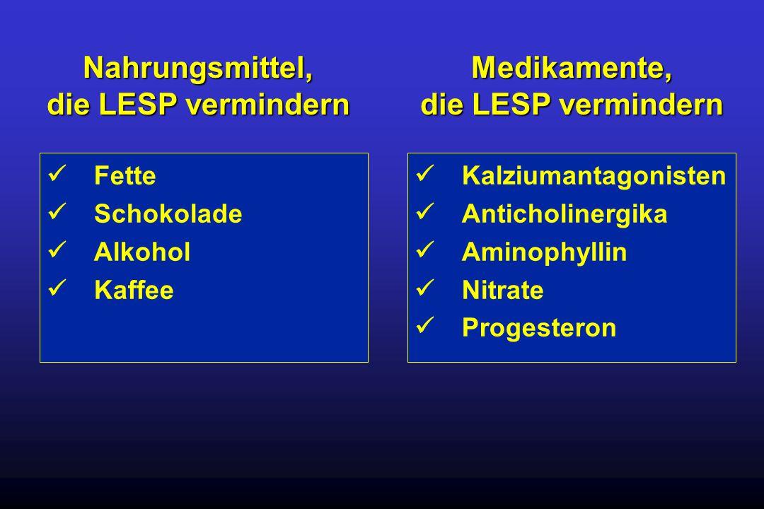 Fette Schokolade Alkohol Kaffee Kalziumantagonisten Anticholinergika Aminophyllin Nitrate Progesteron Nahrungsmittel, die LESP vermindern Medikamente,