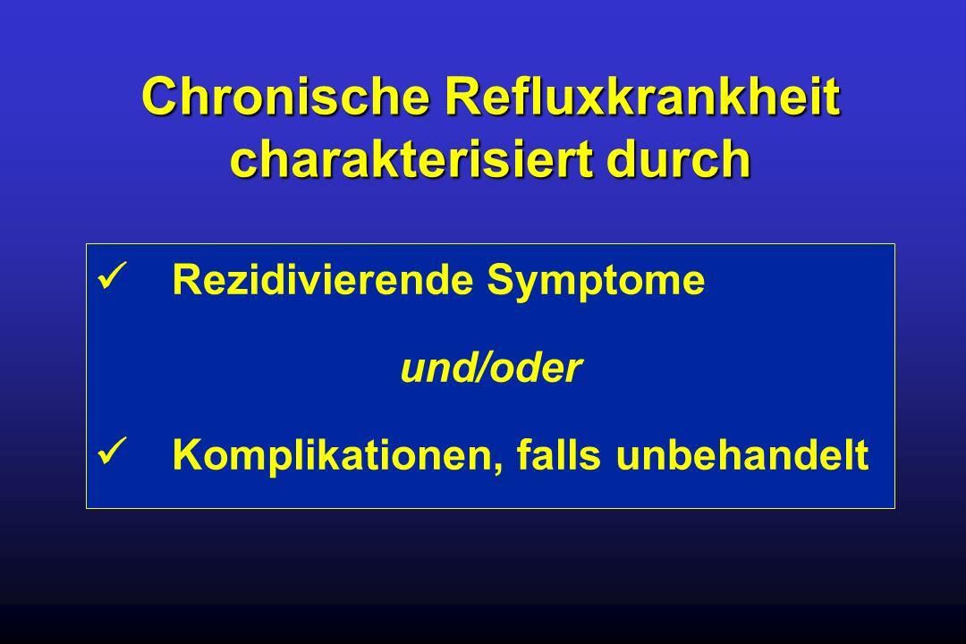 Rezidivierende Symptome und/oder Komplikationen, falls unbehandelt Chronische Refluxkrankheit charakterisiert durch