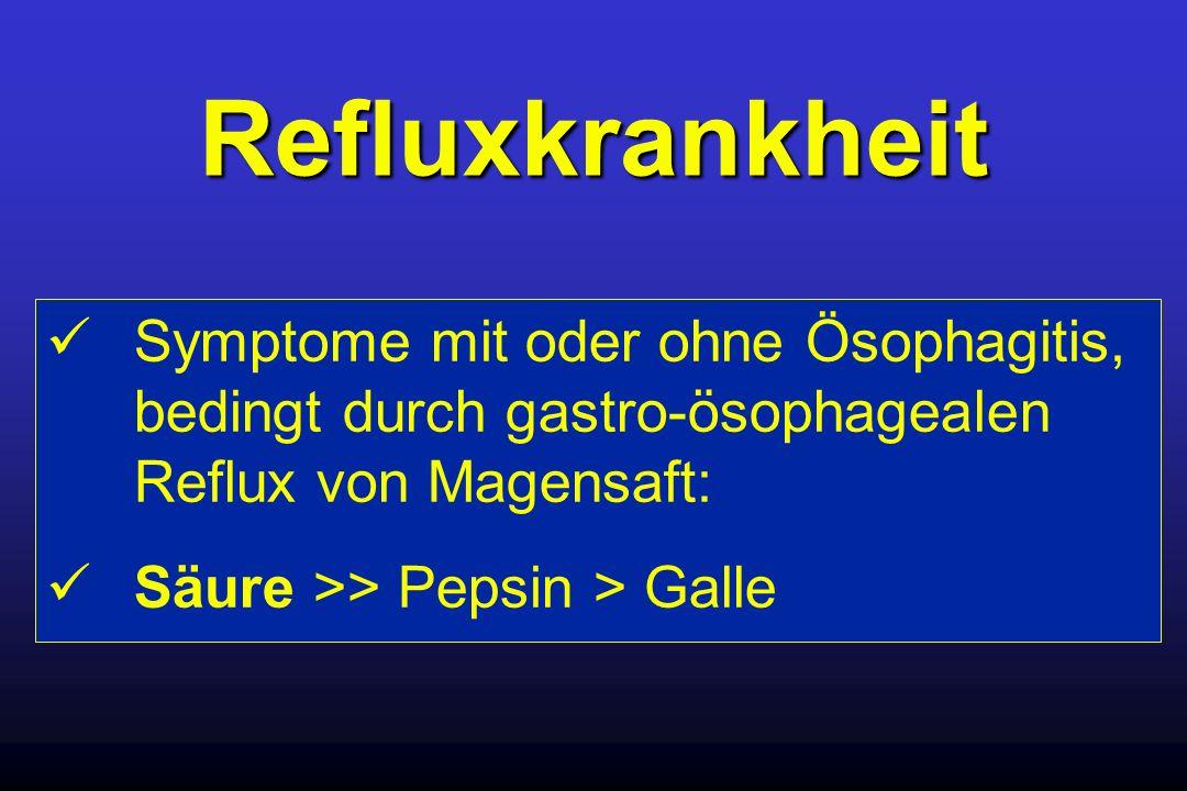 Refluxkrankheit Symptome mit oder ohne Ösophagitis, bedingt durch gastro-ösophagealen Reflux von Magensaft: Säure >> Pepsin > Galle