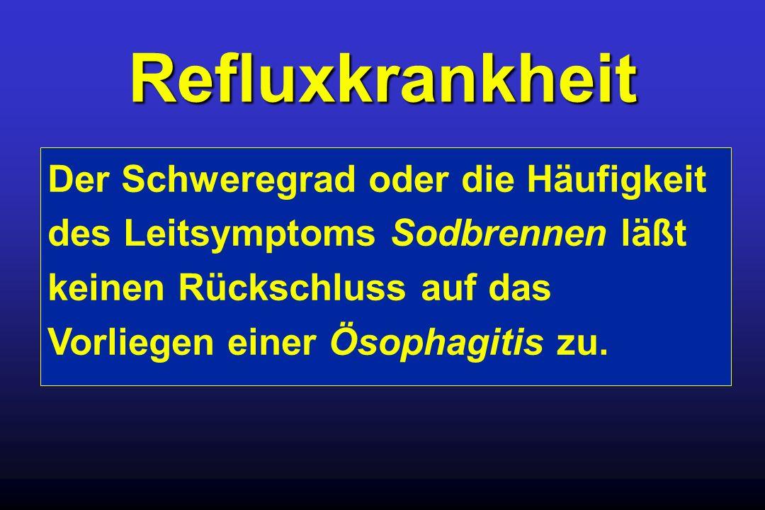 Refluxkrankheit Der Schweregrad oder die Häufigkeit des Leitsymptoms Sodbrennen läßt keinen Rückschluss auf das Vorliegen einer Ösophagitis zu.