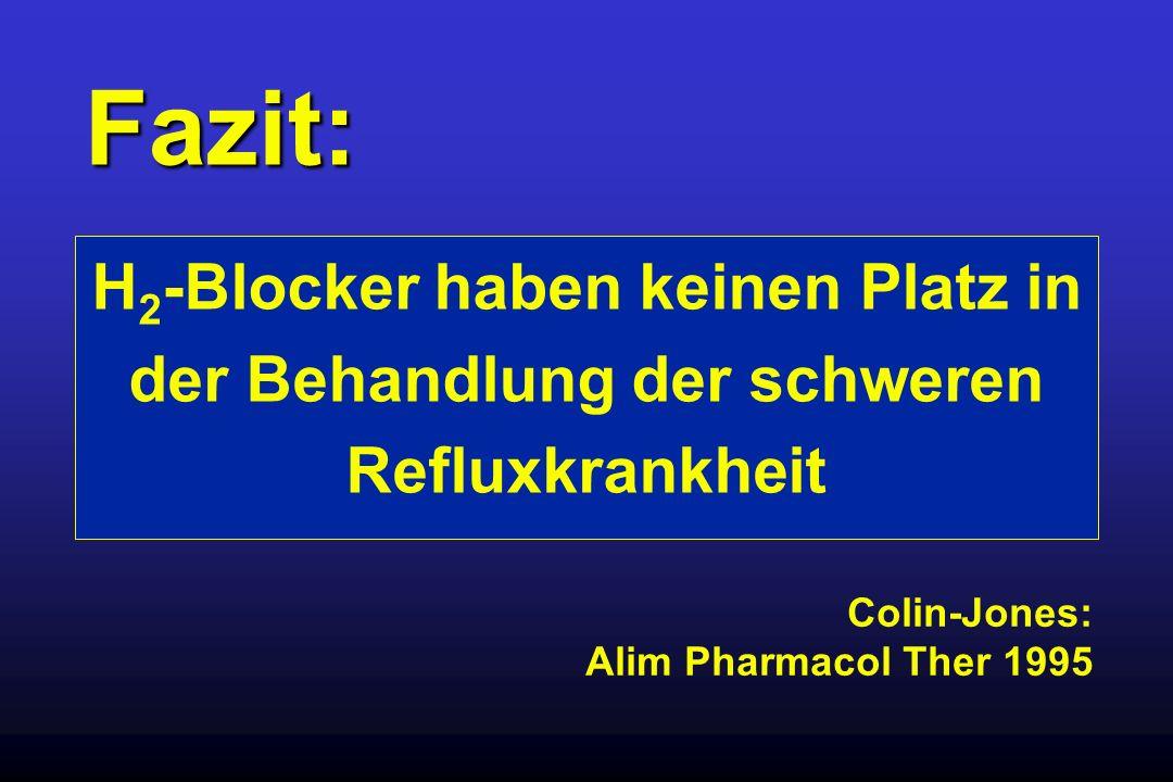 Fazit: H 2 -Blocker haben keinen Platz in der Behandlung der schweren Refluxkrankheit Colin-Jones: Alim Pharmacol Ther 1995