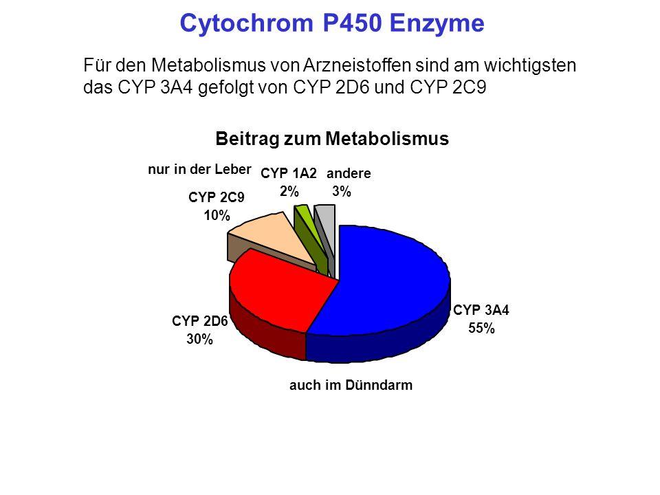 Cytochrom P450 Enzyme Für den Metabolismus von Arzneistoffen sind am wichtigsten das CYP 3A4 gefolgt von CYP 2D6 und CYP 2C9 Beitrag zum Metabolismus