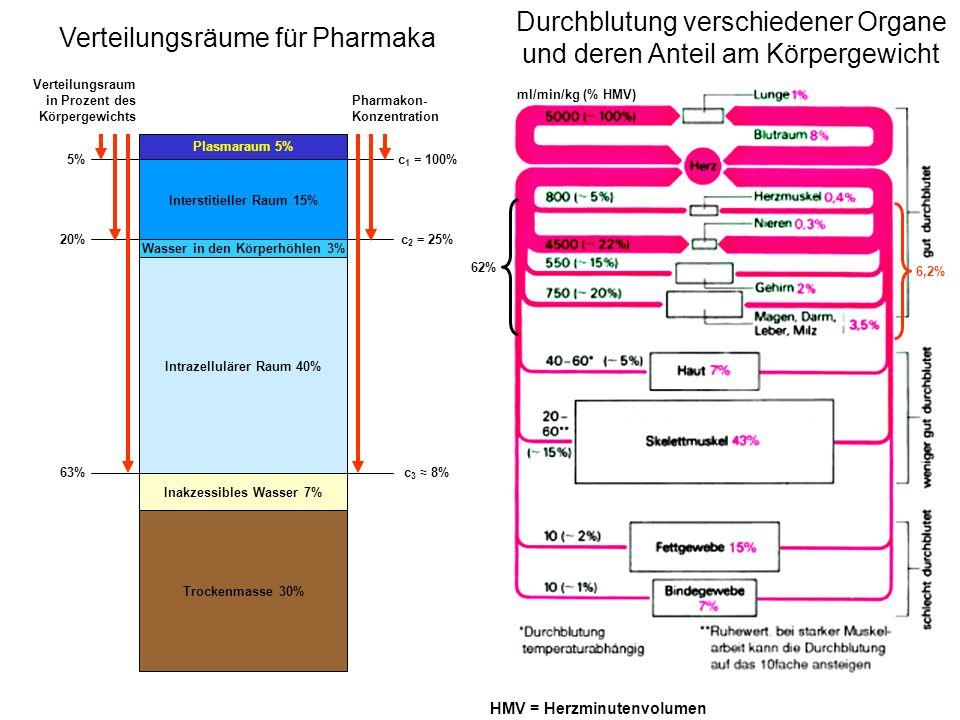 Pharmakon L/kg Heparin 0,06 Insulin 0,08 Tolbutamid 0,1 Warfarin 0,2 Ampicillin 0,3 Theophyllin 0,4 Isoniazid 0,6 Phenytoin 0,6 Ethanol 0,65 Paracetamol 1,0 Pentobarbital 1,8 Procainamid 2,0 Morphin 2,0 Chinidin 2,3 Propranolol 3,0 Lidocain 3,0 Pethidin 3,5 Digoxin 7,0 Imipramin15,0 Chlorpromazin20,0 Scheinbare Verteilungsvolumina einiger Pharmaka verbleibt weitgehend im Plasma (Volumen = 0,04-0,6 L/kg) verteilen sich gleichmäßig im Plasma und Interstitium (Körperwasser-Volumen = 0,6 L/kg) hohe Leberextraktion (Proteinbindung) hohe Lipidlöslichkeit Gleich hohe Proteinbindung in Plasma und Geweben ( 90%): das Verteilungsvolumen gibt keine Auskunft über die Verteilung innerhalb eines Flüssigkeitsraums (z.B.