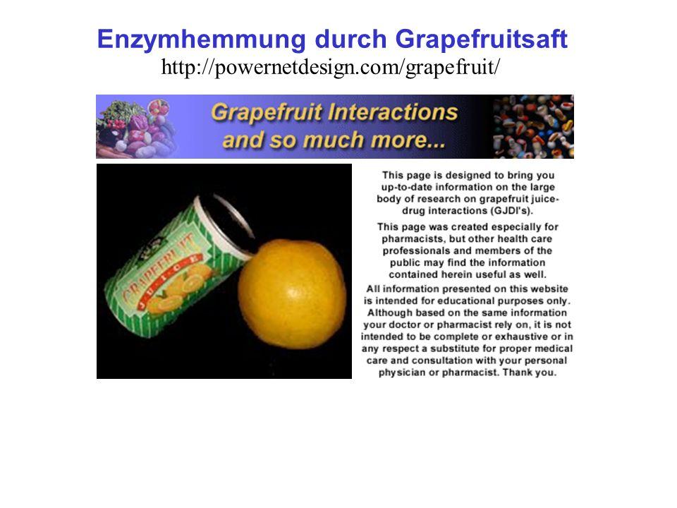 http://powernetdesign.com/grapefruit/ Enzymhemmung durch Grapefruitsaft