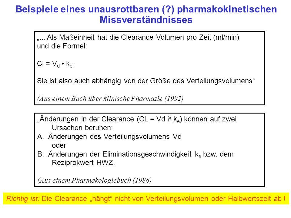 Beispiele eines unausrottbaren (?) pharmakokinetischen Missverständnisses... Als Maßeinheit hat die Clearance Volumen pro Zeit (ml/min) und die Formel