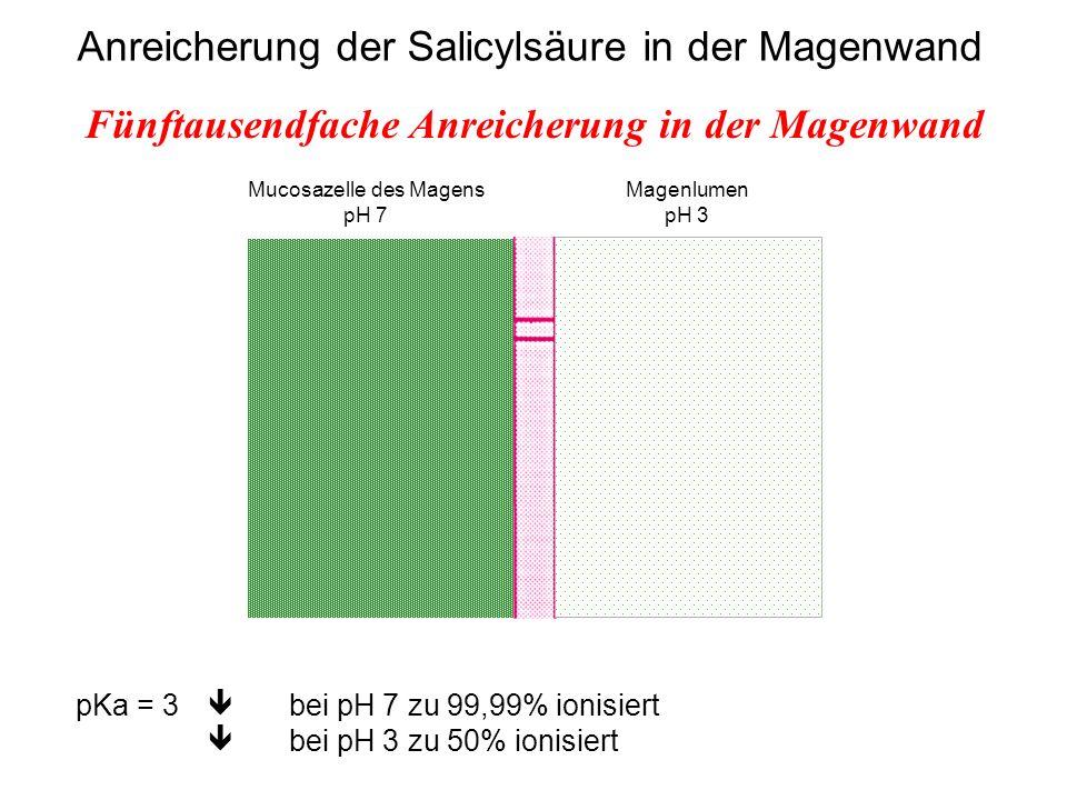 Mucosazelle des Magens pH 7 Magenlumen pH 3 Anreicherung der Salicylsäure in der Magenwand pKa = 3 bei pH 7 zu 99,99% ionisiert bei pH 3 zu 50% ionisi