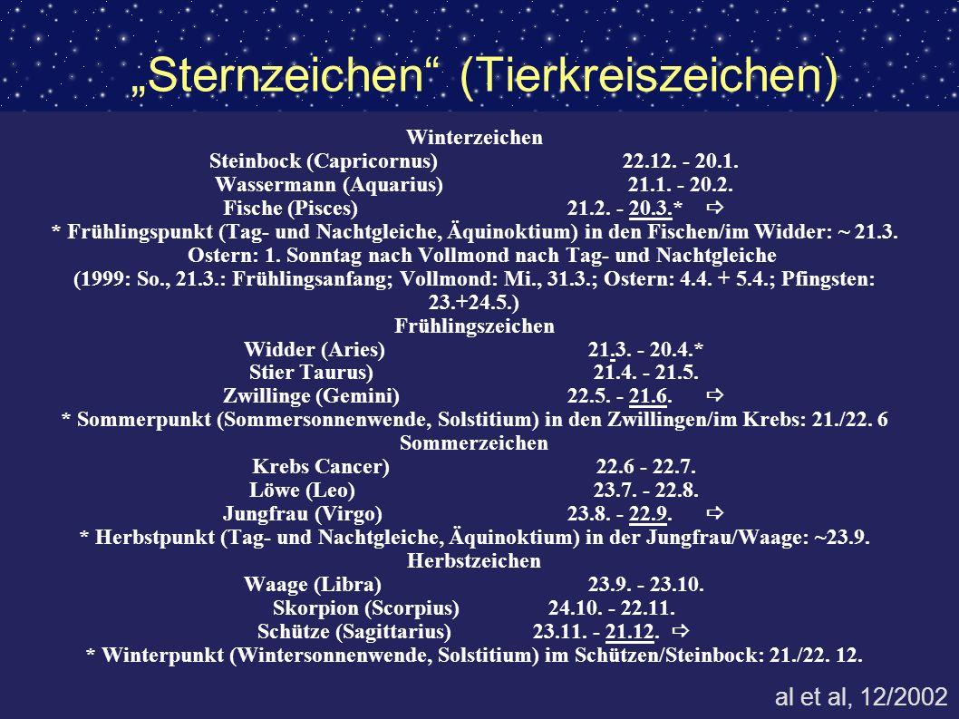 Sternzeichen (Tierkreiszeichen) Winterzeichen Steinbock (Capricornus)22.12. - 20.1. Wassermann (Aquarius)21.1. - 20.2. Fische (Pisces)21.2. - 20.3.* *