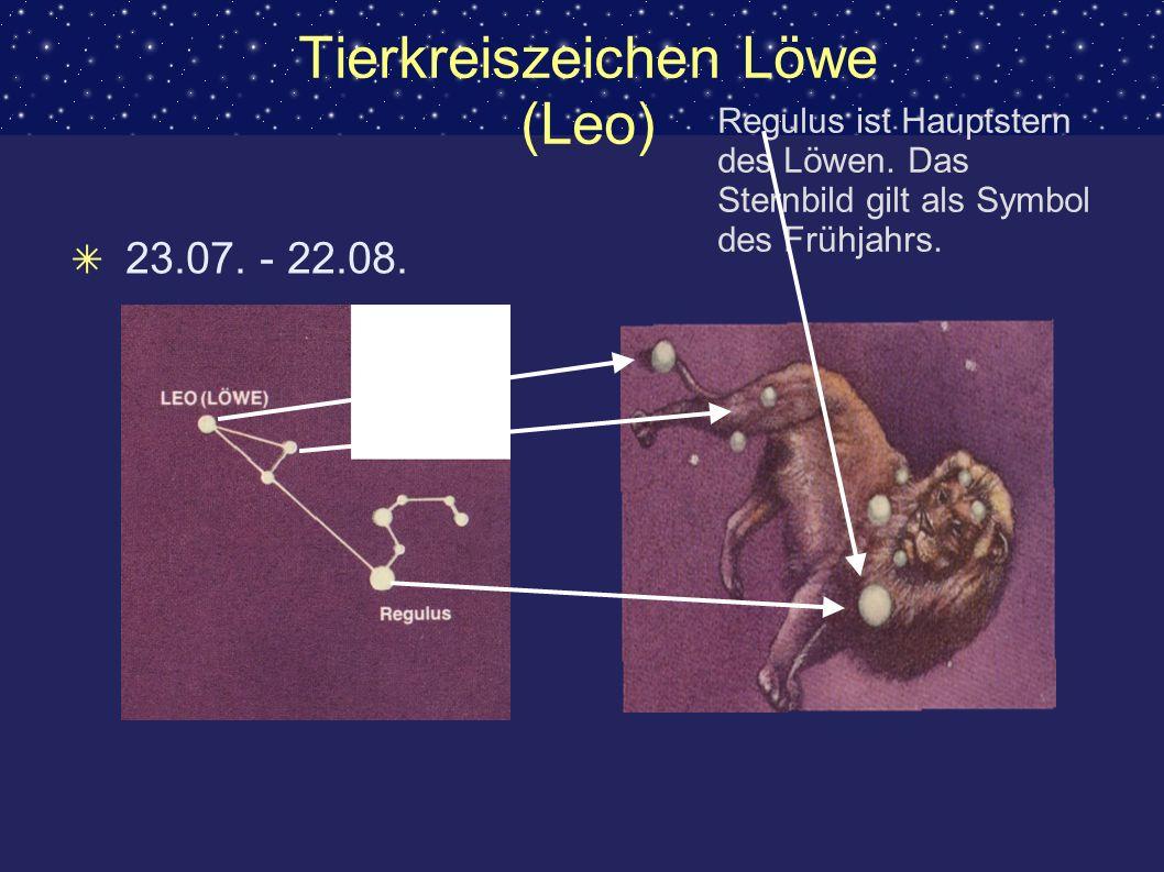 Tierkreiszeichen Löwe (Leo) 23.07. - 22.08. Regulus ist Hauptstern des Löwen. Das Sternbild gilt als Symbol des Frühjahrs.